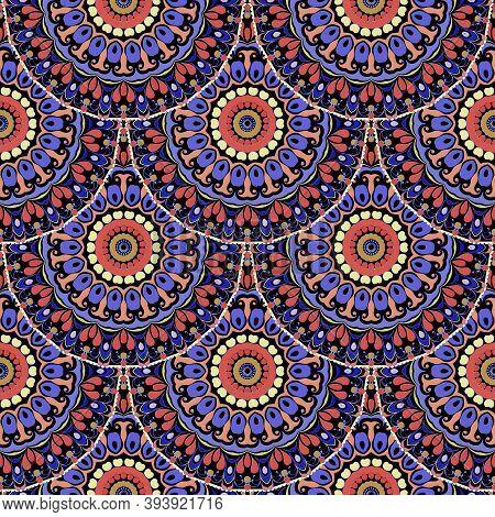 Deco Floral Seamless Pattern. Boho Ornamental Tiled Mandalas Vector Background. Tribal Style Paisley