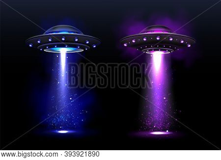 Alien Spaceships, Ufo With Blue And Purple Light Beam. Vector Realistic Illustration Of Futuristic F
