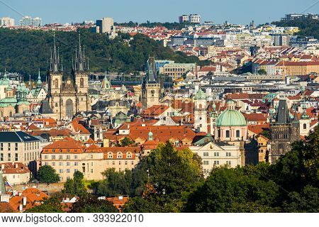 Prague, Czech Republic - September 19, 2020. View On Main Towers In Downtown With Tyn, Charles Bridg