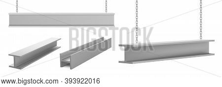 Steel Beams, Straight Metal Industrial Girder Pieces Hanging On Chains For Construction And Building