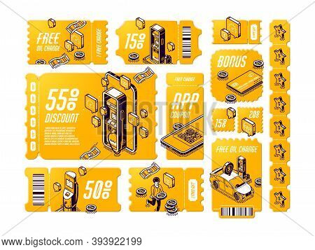 Isometric Discount Coupons For Free Oil Change, Tear-off Gift Vouchers For Car Service, Off Price Ce