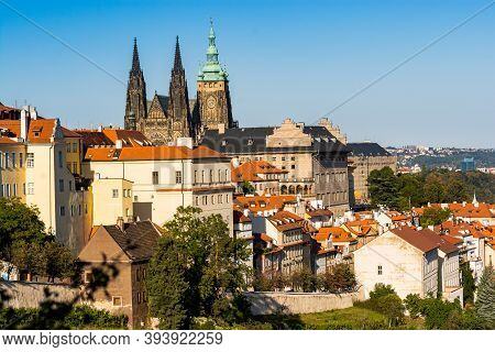 Prague, Czech Republic - September 19, 2020. Panoramic View On Prague Castle With Buildings In Stree