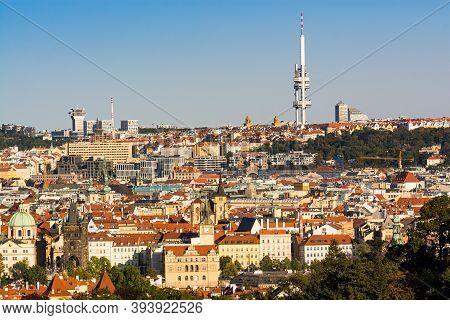 Prague, Czech Republic - September 19, 2020. Panorama Of Capital With Main Dominant Of Zizkov Tower