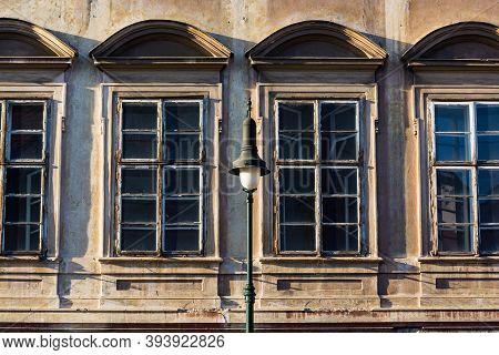 Prague, Czech Republic - September 19, 2020. Architectonic Details Of Building In Pohorelec Street -