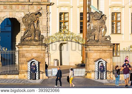 Prague, Czech Republic - September 19, 2020. Gate To The Prague Castle With Guards Without Tourists
