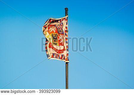 Prague, Czech Republic - September 19, 2020. Truth Prevails - National Motto On The Flag On Prague C