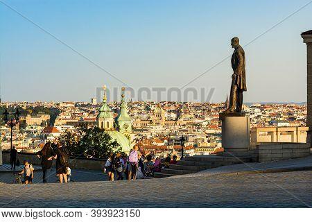 Prague, Czech Republic - September 19, 2020. Statue Of President Masaryk In Front Of Prague Castle W