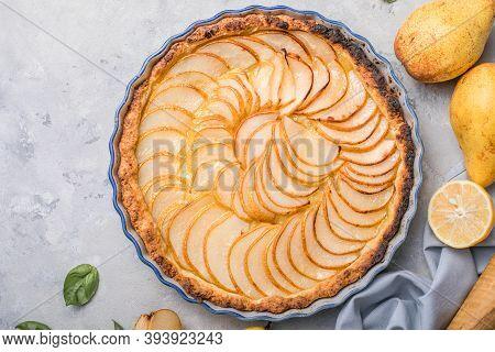 La Tarte Bourdaloue - French Pear Tart Or Pie With Fresh Pear Fruits