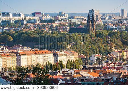 Prague, Czech Republic - September 19, 2020. Panorama Of Vysehrad, Its Park And Prague 2 With Buildi