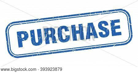 Purchase Stamp. Purchase Square Grunge Blue Sign. Purchase Tag