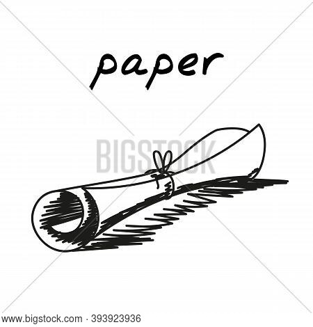 Scroll Hand-drawn Illustration. Cartoon Vector Clip Art Of An Old Paper Document Tied With Thread. B