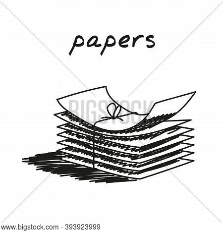 Stack Of Papers Hand-drawn Illustration. Cartoon Vector Clip Art Of A Pile Of Papers Tied With Threa