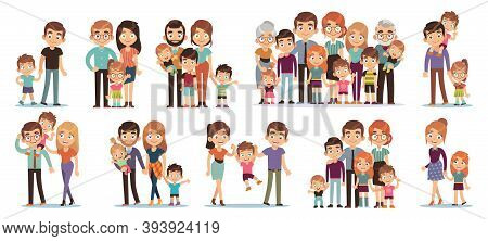 Cartoon Family Characters. Mother And Father, Son And Daughter, Grandparents And Uncles, Happy Famil