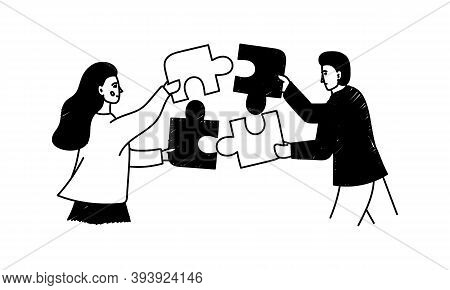 Teamwork Hand-drawn Concept Illustration. Cartoon Vector Clip Art Of A Man And Woman Put The Puzzle