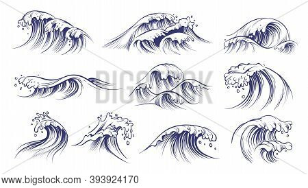 Ocean Hand Drawn Waves. Sketch Style Sea Storm Blue Water, Curly Foamy Splashes, Tsunami And Tide Vi