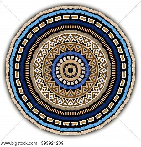 Round Embroidery Tribal Mandala Pattern. Colorful Tapestry Ethnic Ornament On White Background. Eleg