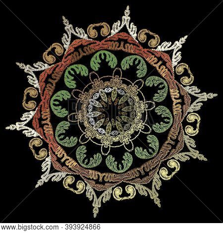 Embroidery Baroque Vector Mandala Pattern. Colorful Floral Vintage Background. Tapestry Grunge Wallp