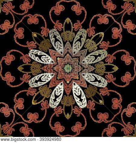 Embroidery Baroque Vector Seamless Pattern. Colorful Floral Grunge Mandalas Background. Tapestry Wal