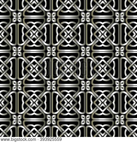 Lines Silver 3d Seamless Pattern. Celtic Grid Ornament. Repeat Curved Lines Backdrop. Ethnic Tribal