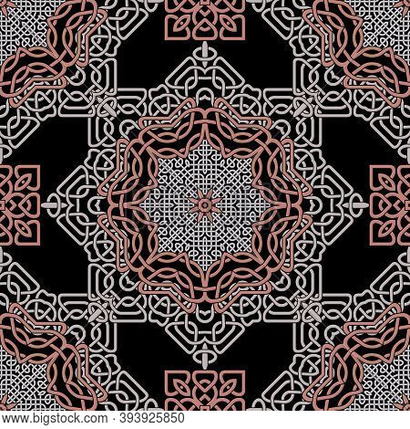 Floral Elegant Celtic Mandalas Seamless Pattern. Vector Lines Background. Repeat Line Art Arabic Orn