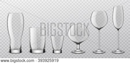Alcoholic Drinks Realistic Glass Glasses. Realistic Alcohol Cocktail, Wine Crystal Stemware, Beer Go