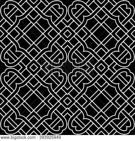 Contour Lines Seamless Pattern. Celtic Ornament. Repeat Curved Lines Grid Backdrop. Ethnic Tribal St