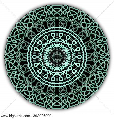 Colorful Celtic Mandala Pattern. Vector Lines Background. Repeat Line Art Knotted Round Ornamets. In