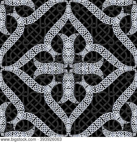 Floral Lace Seamless Pattern. Celtic Ornament. Repeat Curved Lines Grid Backdrop. Ethnic Tribal Styl