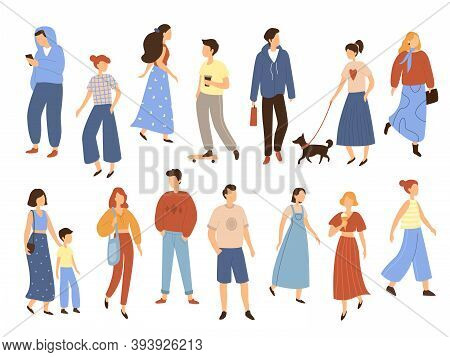Walking People. Flat Men And Women With Children Outdoor Street Characters Collection, Different Pos