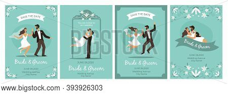 Bride And Groom Cards. Happy Loving Couple Wedding Ceremony Man And Woman In Love, Flower Framed Rom