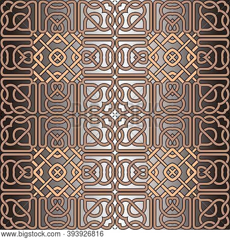 Lines Seamless Pattern. Celtic Ornament. Repeat Curved Lines Grid Backdrop. Ethnic Tribal Style Line