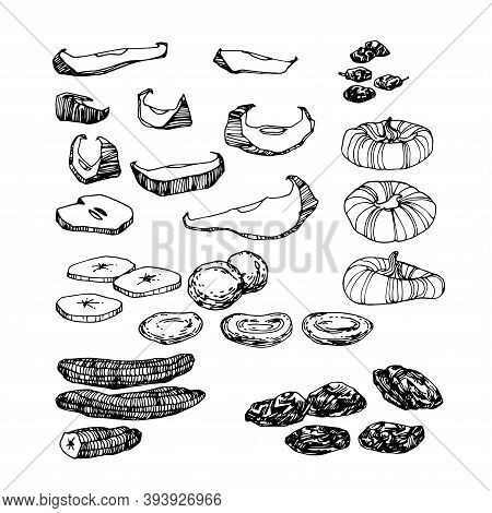 Set Of Dried Fruits, Bananas, Figs, Prunes, Raisins, For Menu & Culinary Recipes Decoration, Compote