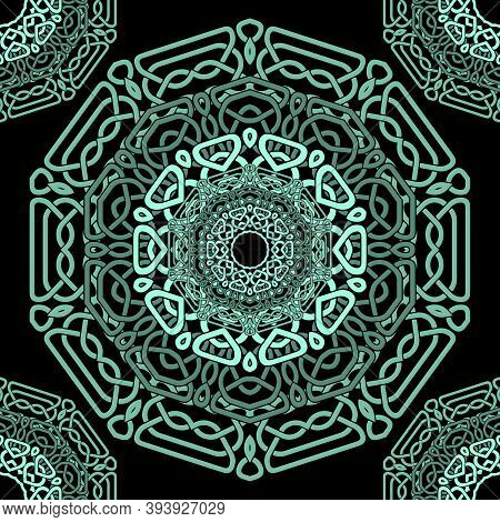 Green Celtic Mandalas Seamless Pattern. Vector Lines Background. Repeat Line Art Knotted Arabic Orna