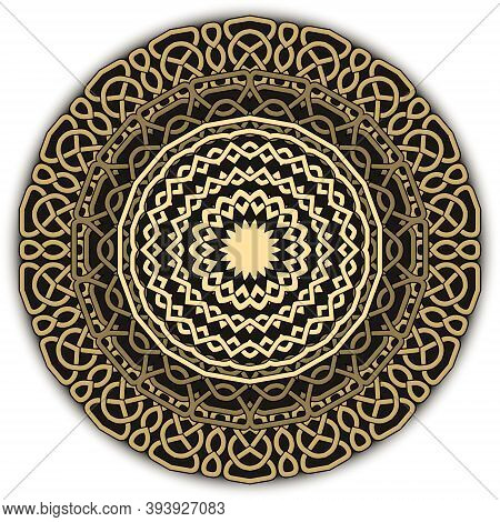 Gold Celtic Mandala Pattern. Vector Lines Background. Repeat Line Art Knotted Round Ornamets. Intric
