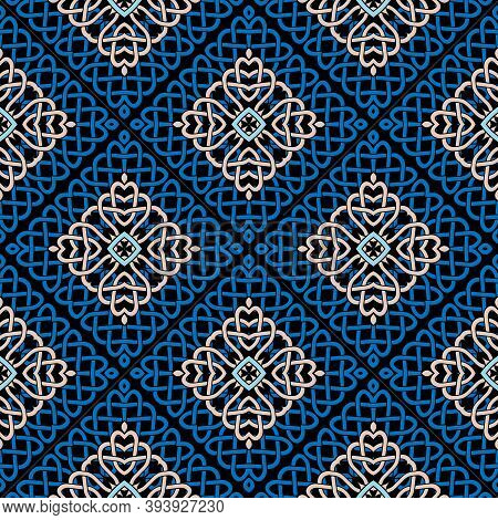 Lines Seamless Pattern. Celtic Ornament. Repeat Curved Lines Grid Backdrop. Ethnic Tribal Waffled Li