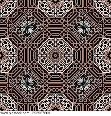 Ornate Celtic Seamless Pattern. Vector Lines Background. Repeat Line Art Knotted Arabic Ornamets. In