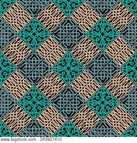 Textured Celtic Seamless Pattern. Geometric Repeat Tapestry Background. Repeat Grunge Tribal Ethnic