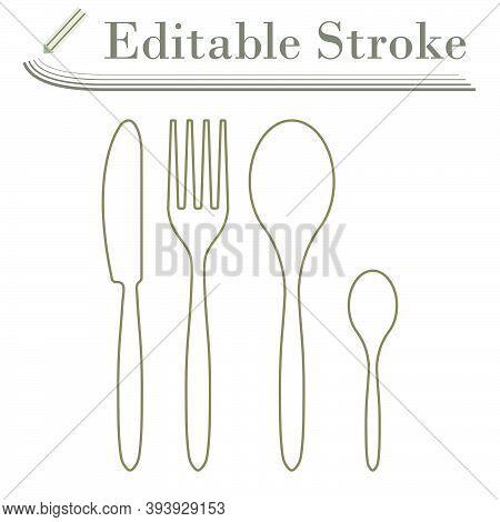 Silverware Set Icon. Editable Stroke Simple Design. Vector Illustration.