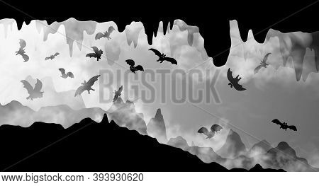 Mysterious Underground Cave Whith Flying Bats Black And White Simple Silhouette Vector Illustration.