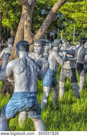 Thailand, Bang Khonthi District, 06.07,2019 Statues Of Fighters Of The Ancient Thai Martial Art Muay