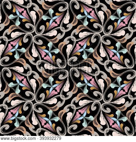 Renaissance Rococo Style Vintage Seamless Pattern. Colorful Floral Ornamental Background. Decorative