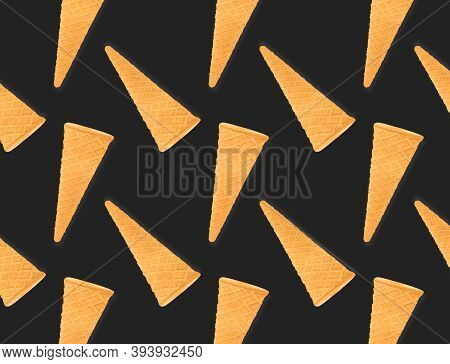 Pattern Of Ice Cream Cone Isolated On Creative Colored Texture