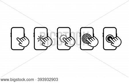 Hand Touch Screen Smartphone Icon. Smartphone Screen With Clicking Finger. Cursor Icon Vector. Hand