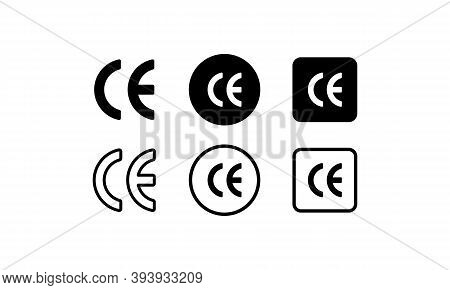 Ce Sign. European Conformity Certification Mark. Vector Eps 10. Isolated On White Background