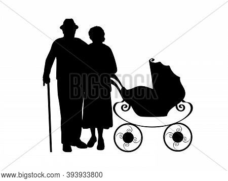 Silhouette Of Grandparents With Baby Stroller. Illustration Graphics Icon Vector