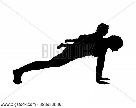 Silhouette Of Woman Doing Sports With Child. Illustration Graphics Icon Vector