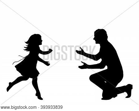 Silhouette Of Happy Girl Running To Meet Her Father. Illustration Graphics Icon Vector