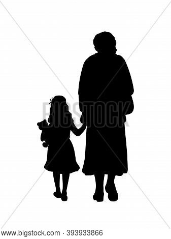 Silhouette Of Grandmother Walking With Granddaughter. Illustration Graphics Icon Vector