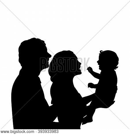 Silhouettes Happy Father And Mother Holding Newborn Baby Close Up. Illustration Graphics Icon Vector