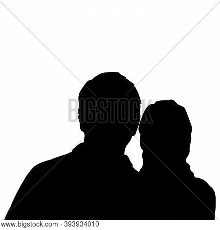 Silhouette Of Man And Woman Close Up. Illustration Graphics Icon Vector